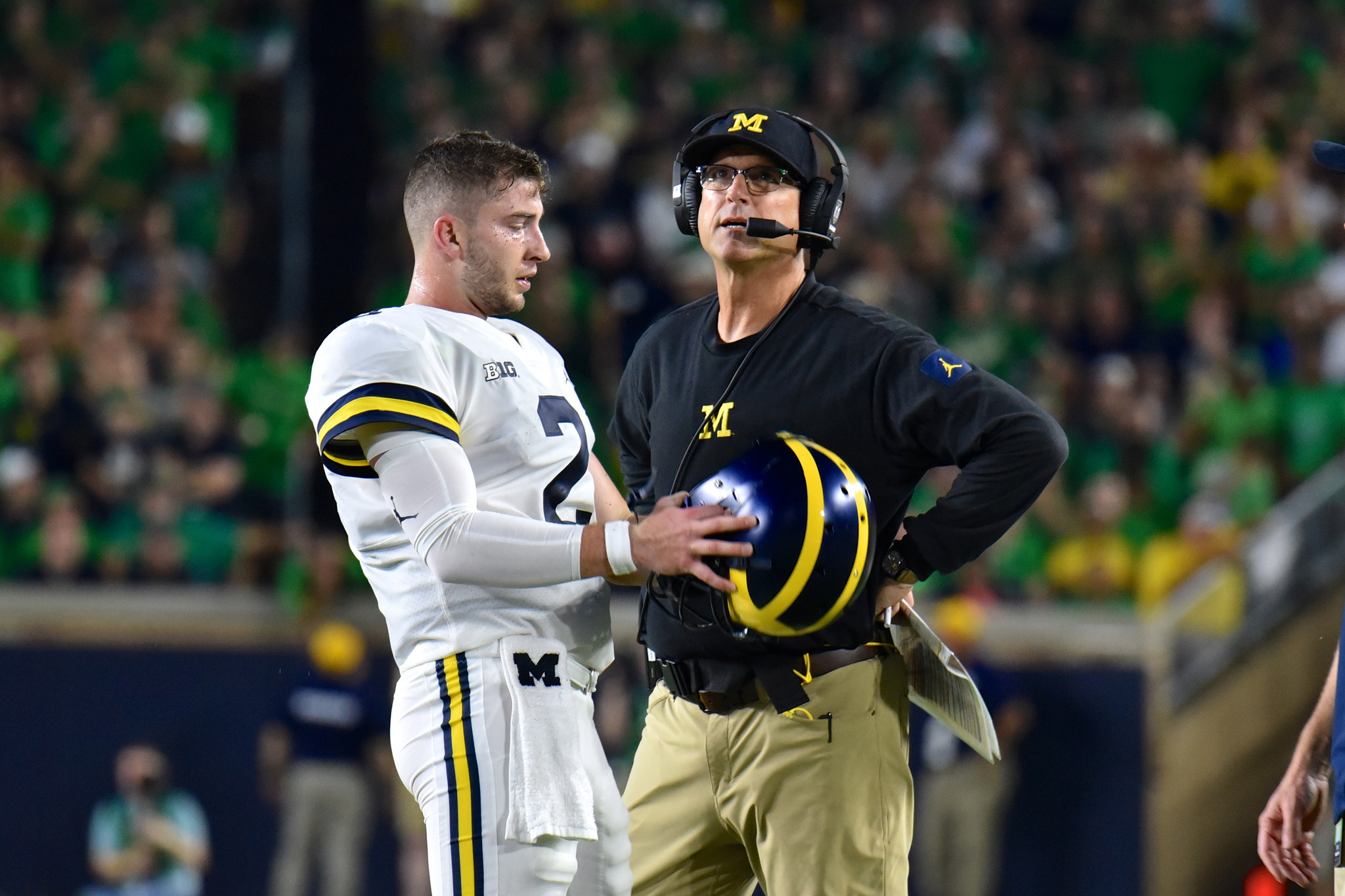 Shea Patterson and Jim Harbaugh