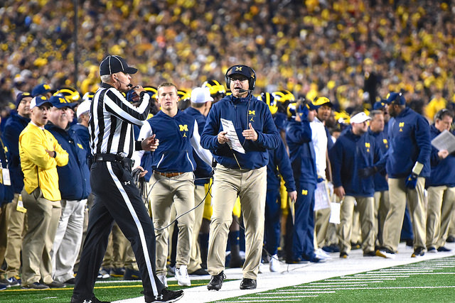 Jim Harbaugh coaching, as coaches do
