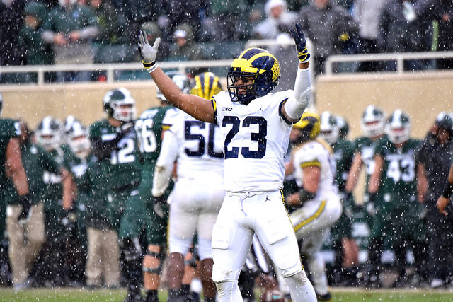 Tyree Kinnel celebrates during Michigan's win over Michigan State