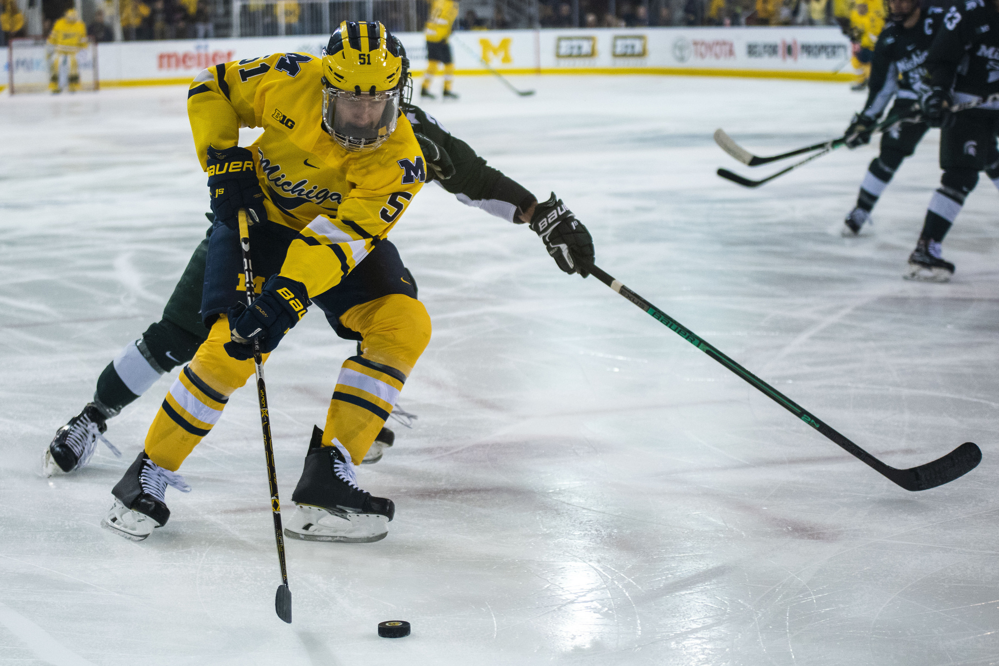 Garrett Van Wyhe skates against Michigan State in the Great Lakes Invitational