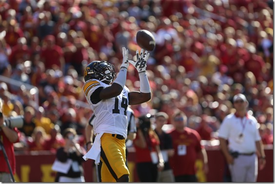 Iowa defensive back Desmond King punt returns the ball during the Cy-Hawk Series game against Iowa State in Jack Trice Stadium in Ames, Iowa on Sept. 12, 2015. The Hawkeyes defeated the Cyclones, 31-17. (The Daily Iowan/ Alyssa Hitchcock)