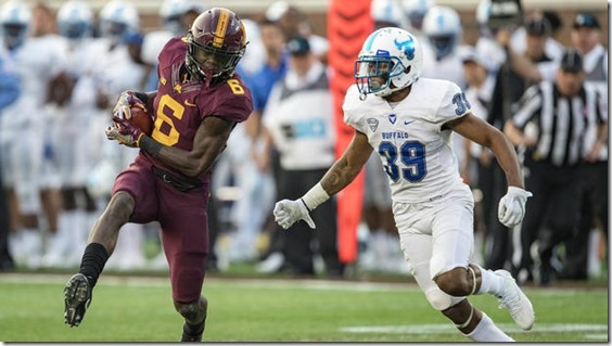 Minnesota Golden Gophers wide receiver Tyler Johnson (6) rushes with the ball after making a catch as Buffalo Bulls cornerback Cameron Lewis (39) plays defense during their game last week in Minneapolis. Johnson, a Minneapolis native and former Minneapolis North standout, is becoming the Gophers' go-to receiver. Jesse Johnson / USA TODAY Sports