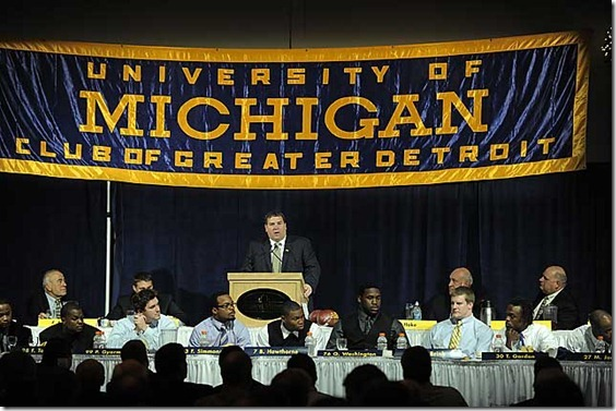 (caption) First-year Michigan head coach and Big Ten football coach of the year Brady Hoke addresses a record crowd of nearly 1,600 Michigan football supporters at the 91st Annual Michigan Football Bust presented by the M-Club of Greater Detroit at Laurel Manor in Livonia. Photos taken on Monday, December 12, 2011.  ( John T. Greilick / The Detroit News )