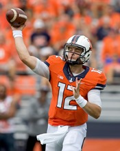 Aug 30, 2014; Champaign, IL, USA; Illinois quarterback Wes Lunt (12) throws a pass in the game against Youngstown State at Memorial Stadium. Mandatory Credit: Mike Granse-USA TODAY Sports