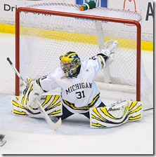 Shawn Hunwick of the Michigan hockey team plays against Windsor in an exhibition match at Yost Ice Arena on Sunday, October 4th 2009(SAID ALSALAH/DAILY)