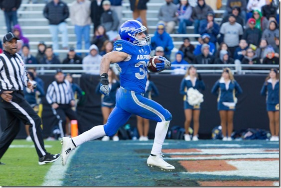 December 29, 2015: Air Force Falcons running back Timothy McVey scores a touchdown during the second half of the Lockheed Martin Armed Forces Bowl against the California Golden Bears at Amon G. Carter Stadium in Fort Worth, TX (Photo by Mikel Galicia/Icon Sportswire)