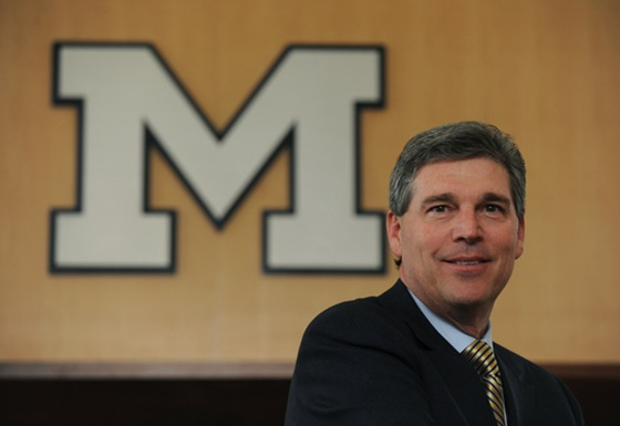 David Brandon, CEO of Domino's Pizza, was named the new Athletic Director at the University of Michigan this morning (Tuesday, January 5). Brandon is shown in UM's Student Academic Center where he conducted interviews with the media following the announcemnet.<br /> Lon Horwedel | AnnArbor.com