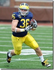 Joe Kerridge in action during Michigan's annual Spring Football Game at Michigan Stadium, Saturday, April 15th.