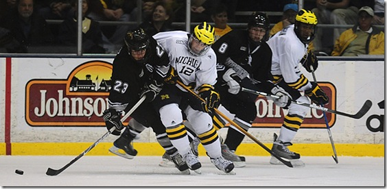 Carl Hagelin of the Michigan Hockey Team plays against Western Michigan University at the Yost Ice Arena on Friday November 14th. Michigan lost the game 2-1. (SAID ALSALAH /Daily)