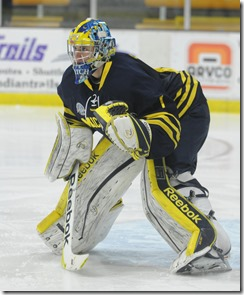 Freshman goaltender Steve Racine (1) in game versus Western Michigan. Michigan won by a score of 5-1. (Paul Sherman/Daily)