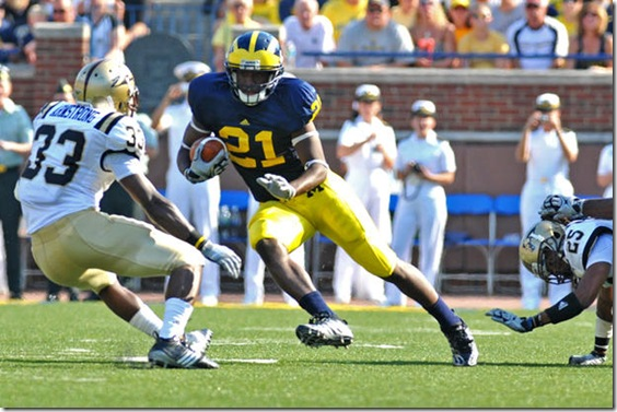 21, Junior Hemingway during University of Michigan 31-7 victory against  Western Michigan September 5th 2009. (SAM WOLSON/Daily).