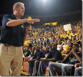 Head coach John Beilein gives a speech prior to the Wolverine's selection at the NCAA selection ceremony held at Crisler Arena on Sunday March 15, 2009. Michigan was selected as the number 10 seed. (WILL MOELLER /Daily)
