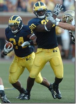 Michigan runningback Kevin Grady runs the ball  during the second half of the Wolverine's 2009 season opener 31-7 win, versus Western Michigan University at Michigan Stadium, Saturday, September 5th.Melanie Maxwell| Ann Arbor.com