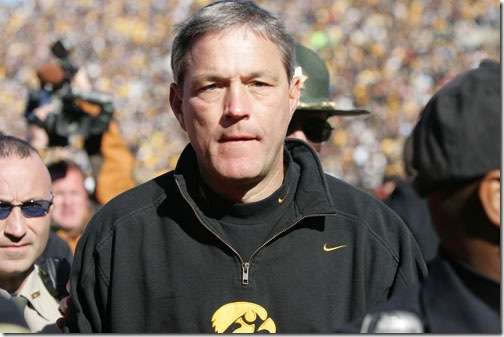 27 Octoboer 2007: Iowa head coach Kirk Ferentz runs off the field following Iowa's 34-27 2OT win over Michigan State at Kinnick Stadium in Iowa City, Iowa.