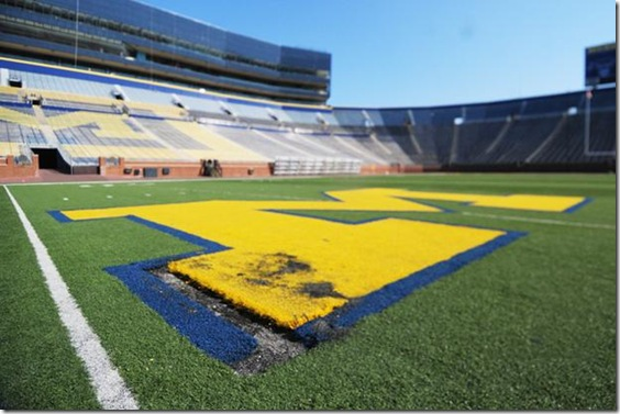 "Photos of the vandalized ""M"" in the Big House taken on March 30, 2010. (JAKE FROMM/Daily)"