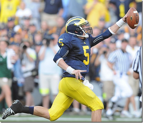 Michigan QB Tate Forcier (5) plays against Notre Dame in Ann Arbor, MI on Saturday, September 12, 2009. Michigan went on to win the game 38-34 (SAID ALSALAH/Daily)