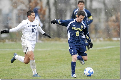 Jake Stacy of The Michigan Wolverines men's soccer team plays against UC Davis at the new Soccer Complex on Tuesday, November 25th. The Wolverines won 2-1. (SAID ALSALAH/Daily)