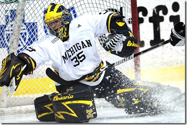 Michigan goaltender Bryan Hogan (#35) plays against Western Michigan University at Yost Ice Arena on Saturday, March 14, 2009 in their second CCHA Quarterfinal game. The Wolverines won, 6-1. (CLIF REEDER/Daily)