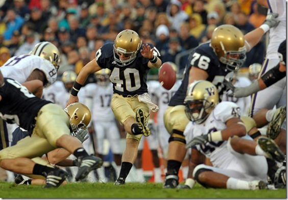 Oct. 3, 2009; South Bend, IN, USA; Notre Dame Fighting Irish kicker Nick Tausch (40) kicks a field goal in the second quarter against the Washington Huskies at Notre Dame Stadium. Mandatory Credit: Matt Cashore-US PRESSWIRE