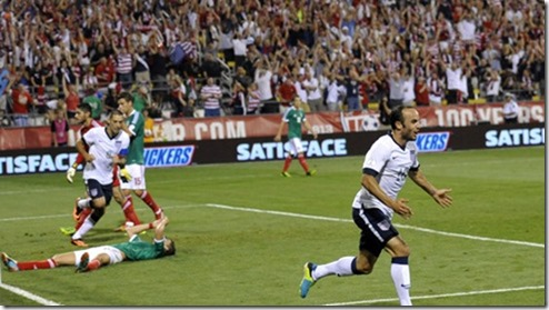Sep 10, 2013; Columbus, OH, USA; United States midfielder Landon Donovan (right) celebrates his goal in the second half against Mexico at Columbus Crew Stadium. Mandatory Credit: David Richard-USA TODAY Sports