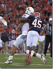 Robert K. O'Daniell/The News-GazetteIllinois linebacker Jonathan Brown (45) sacks Arizona State quarterback Brock Osweiler (17) in the college football game between Illinois and Arizona State at Memorial Stadium in Champaign, Ill. on  Saturday, September 17, 2011.