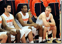 Trevor Cooney a redshirt freshman on this years Syracuse men's basketball team looks down the bench before this years team photo is taken at 2012 Syracuse Men's Basketball Media Day at the Carmelo K. Anthony Center. Dennis Nett/The Post-Standard