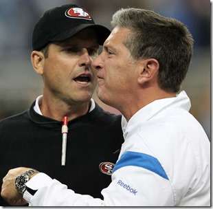 DETROIT, MI - OCTOBER 16: Jim Harbaugh head coach of the San Francisco 49ers argues with Jim Schwartz of the Detroit Lions during the NFL game at Ford Field on October 16, 2011 in Detroit, Michigan.  (Photo by Leon Halip/Getty Images)