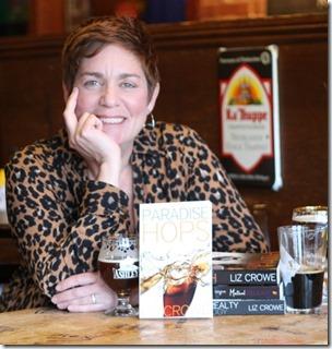 liz with books beer