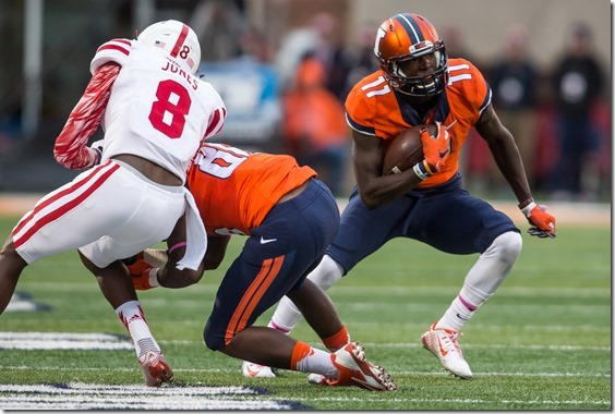 Illinois Fighting Illini wide receiver Malik Turner (11) gets a block from wide receiver Desmond Cain (86) to gain 7 yards on a catch against Nebraska in the fourth quarter at Memorial Stadium, Saturday, Oct. 3, 2015, in Champaign, Ill. Justin L. Fowler/The State Journal-Register