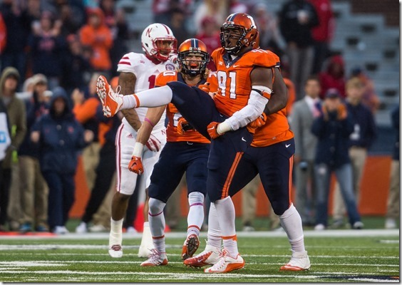 Illinois Fighting Illini defensive end Dawuane Smoot (91) reacts after sacking Nebraska Cornhuskers quarterback Tommy Armstrong Jr. (4) for a 15-yard loss in the fourth quarter at Memorial Stadium, Saturday, Oct. 3, 2015, in Champaign, Ill. Justin L. Fowler/The State Journal-Register