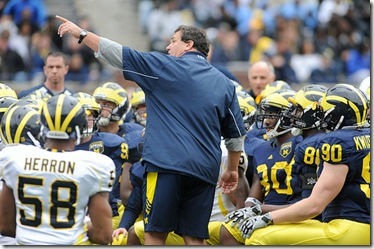 Head coach Brady Hoke talks to the team before the Michigan Spring Football Game at Michigan Stadium in Ann Arbor, Mich. on April 16, 2011. Angela J. Cesere | AnnArbor.com