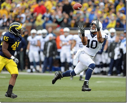 Penn State University wide receiver Andrew Quarless hauls in a long touchdown pass over Michigan linebacker Obi Ezeh during second quarter action of the Nittany Lion's 35-10 pasting of Michigan, Saturday, October 24th at Michigan Stadium.