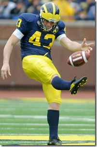 Will Hagerup punts the ball during the Michigan Spring Football Game at Michigan Stadium in Ann Arbor, Mich. on April 16, 2011. Angela J. Cesere | AnnArbor.com